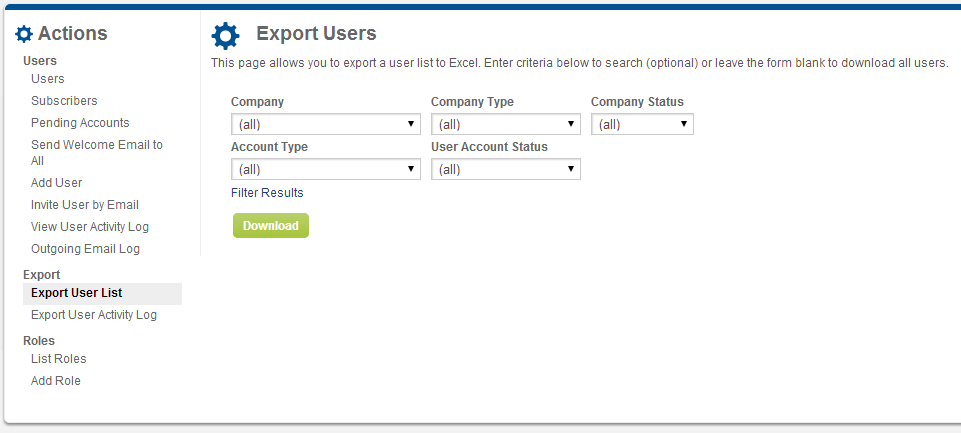 Screenshot of Export Users page