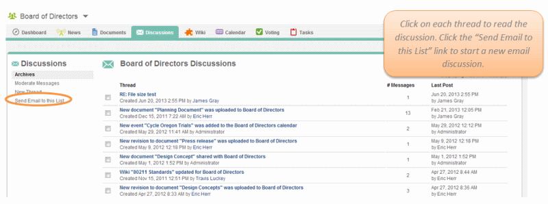 Screenshot of Causeway Discussion Archives